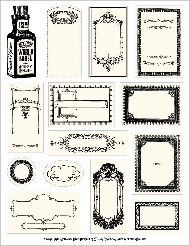 free apothecary style labels... black or sepia