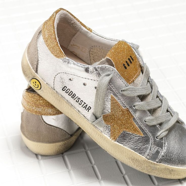 Golden Goose Super Star Sneakers In Leather With Leather Glitter Coated Star Kids - Golden Goose / GGDB