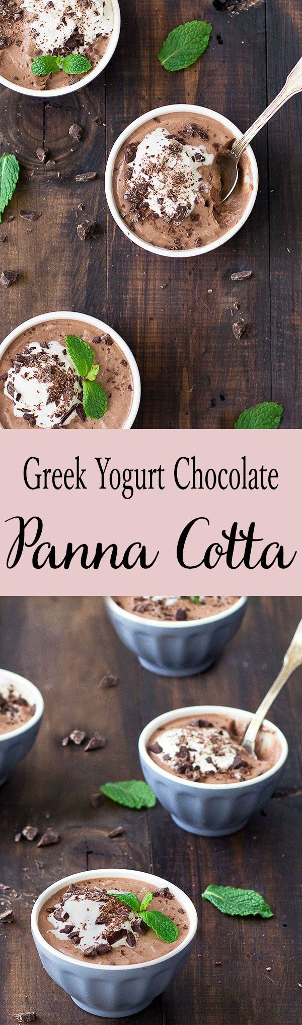 Greek yogurt chocolate panna cotta is silky smooth, rich and delicious! It's only about 205 calories per serving and packed with protein!