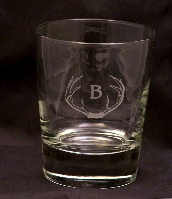 Monogrammed Highball Glasses Personalized Highball Glasses Drinking Glasses 13 oz Libbey Highball Glass Antlers Whitetail Hunters Barware Set.  Pin for later!