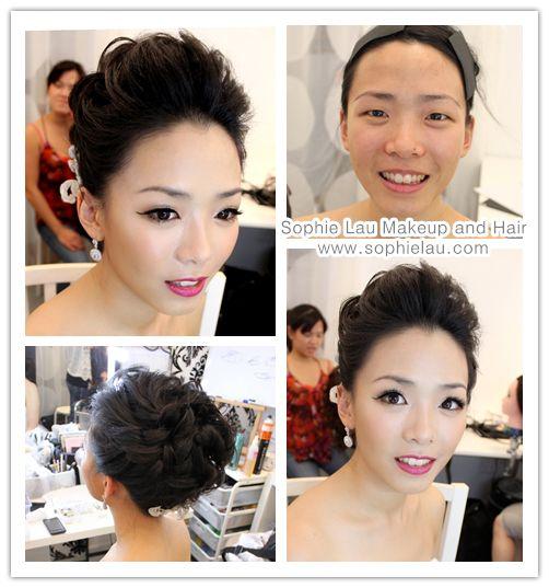 Asian bridal makeup Asian wedding makeup single eyelid makeup Bridal hair style