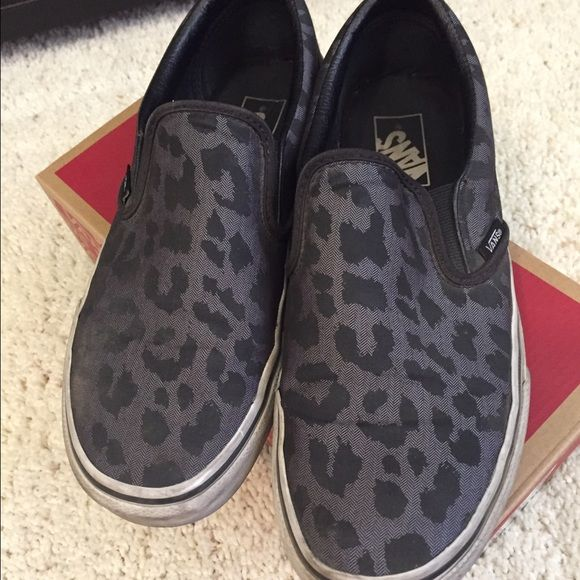 Vans Slip-on Leopard Vans Slip-on Leopard gray and black. Womens 9.5 mens 8. Comes with box Vans Shoes Sneakers