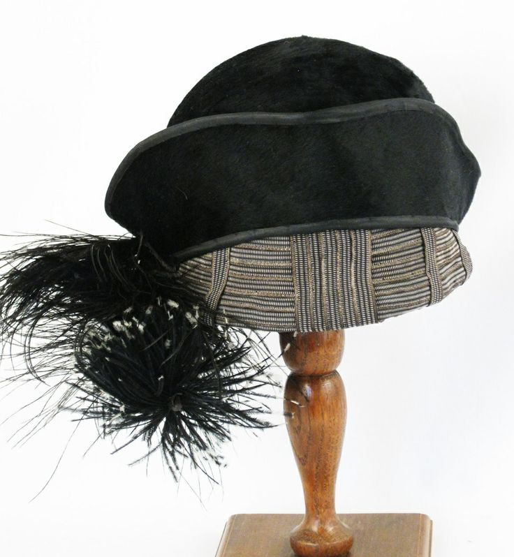 Vintage Hat 1910 1920 Style Black Beaver and Ostrich Feather Tricorn Turban by Belart Sz 23 from Alley Cats Vintage at RubyLane.com