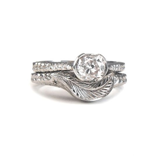Best Handmade platinum old cut diamond engagement ring with matching engraved custom wedding ring made using diamond from unwanted ring