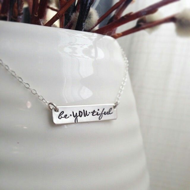 "Always ""be-you-tiful"" and proud. Sterling silver, handstamped right here in Central Alberta. Pure jewel designs."