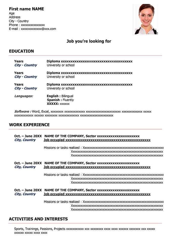 Curriculum Vitae En Inglés Para Editar En Word Cv English Pdf