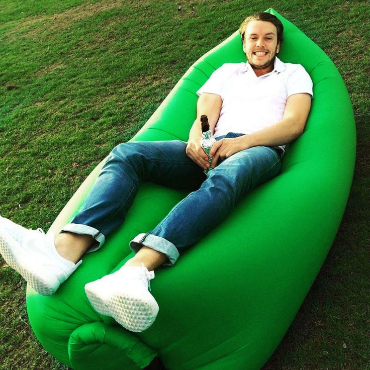 Inflatable Air Sofa Lounger Lazy Couch in Portable Bag (Green)