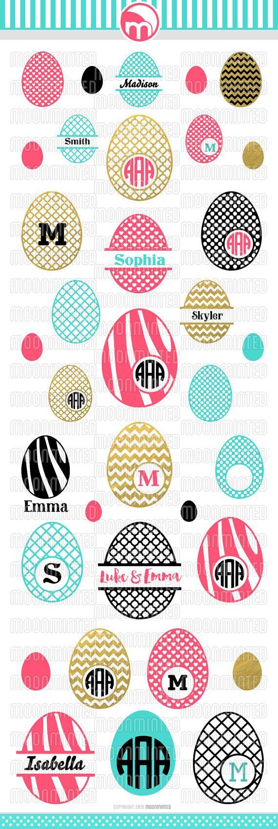 Easter Egg SVG Cut Files Monogram Frames for Vinyl by MoonMinted