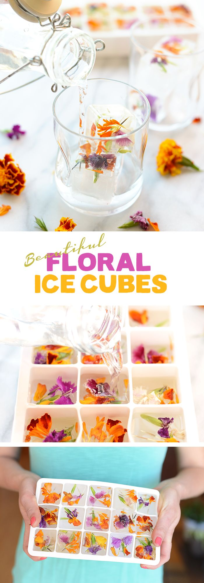 Add some sunshine to your refreshments this summer with these Beautiful Floral Ice Cubes. Just grab some edible flowers and freeze inside inside of your ice cube tray for your next garden party or brunch!