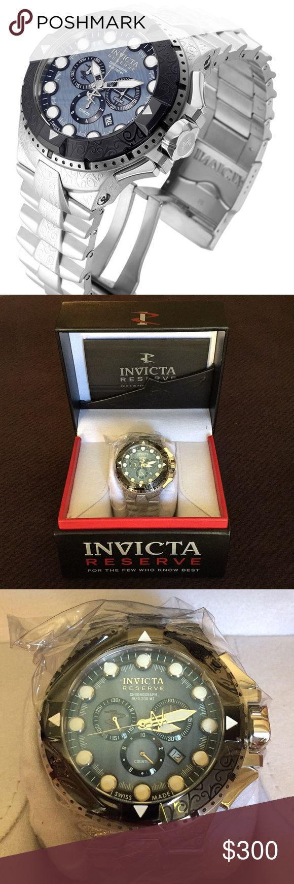 NWT Invicta Excursion Watch Stainless Steel Mens A handsome Invicta excursion quartz watch. Black stainless steel case and band. Model 17862. This watch is brand new, in box and never unwrapped. The case 50 mm and this watch is water resistant up to 200m. It is an incredible quality, Swiss made watch. Invicta Accessories Watches