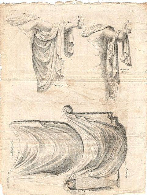 Drapery Drawing Illustration -- Original Antique Engraving Sculpture Drapery Toga European Ancient Vintage