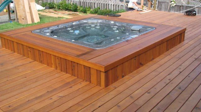 Hardwood Privacy Screen, Blue pool, Outdoor Décor | Hot tubs ...