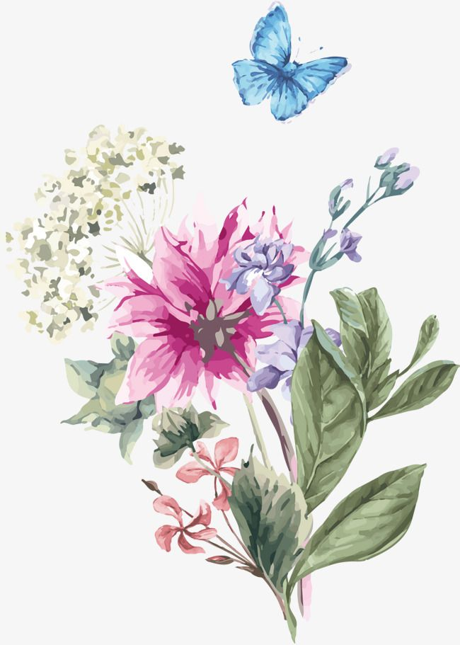 Flowers And Butterflies In 2020 Watercolor Flower Background