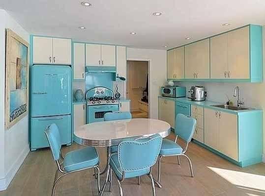 Blue And White Retro Kitchen