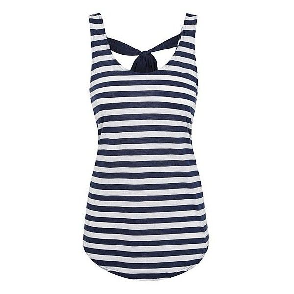 George Striped Bow Back Vest Top ($10) ❤ liked on Polyvore featuring tops, stripe top, striped tank top, bow back tank top, bow back tank and stripe tank top