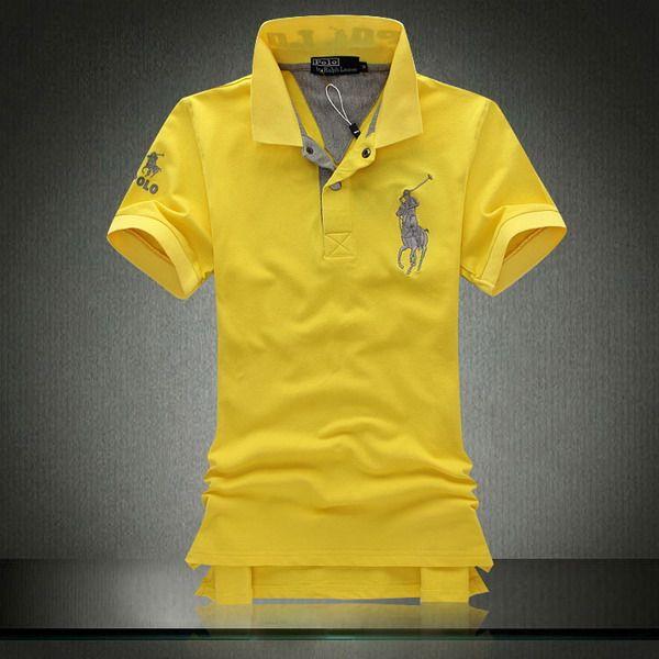 Polo Ralph Lauren Men's Shinny Yellow Mesh Shirts