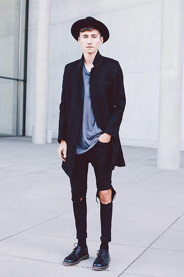 Cos Coat, Acne Studios Acne Tee, Topshop Jeans, Dr. Martens Doc Martens, Borsalino Hat