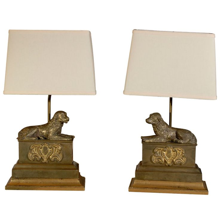 Pair of French, 1920s, Brass Sporting Dogs Chenets Table Lamps with Shades