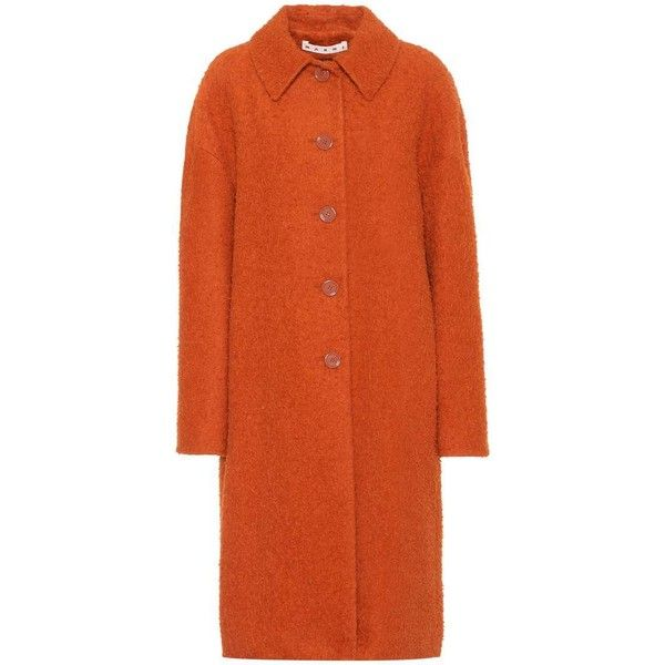 Marni Alpaca and Silk-Blend Coat ($2,460) ❤ liked on Polyvore featuring outerwear, coats, orange, orange coat, alpaca coat, marni, alpaca wool coats and marni coat