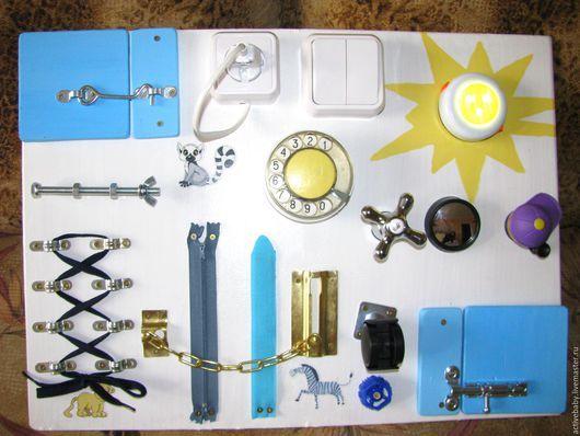 Развивающие игрушки ручной работы. Ярмарка Мастеров - ручная работа. Купить Бизиборд Развивающая доска Бело-голубой. Handmade. Комбинированный