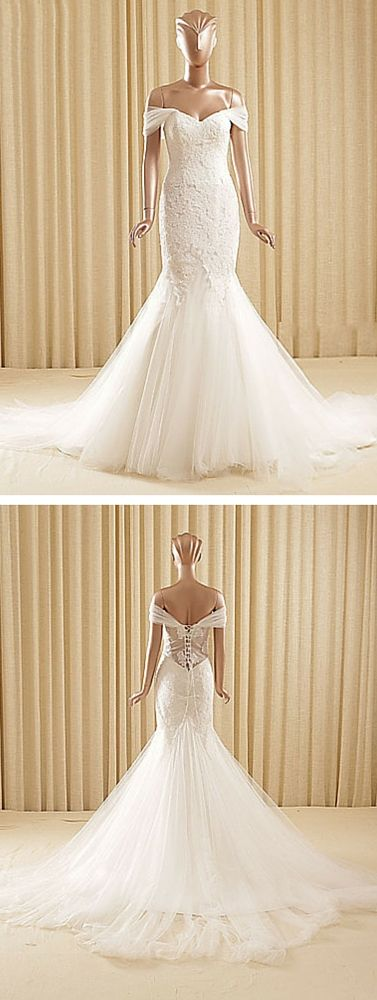Off the shoulder lace sheer panels chiffon mermaid trumpet wedding dress. This affordable wedding dress only looks expensive! It's low price is just one good thing about it, though — the shape shows off your figure, the neckline is romantic. It can be made in white, ivory, champagne and blushing pink. Have it made to your exact measurements or with standard sizing!