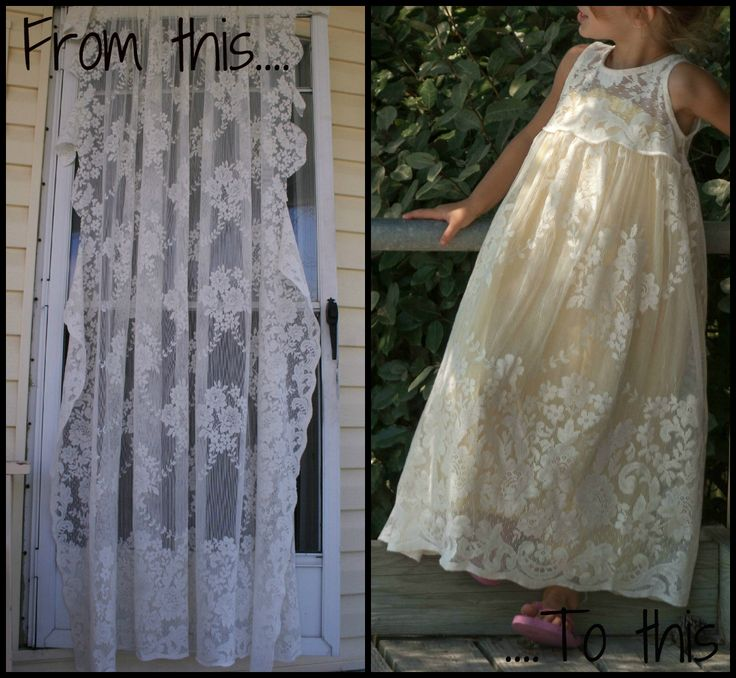 Upcycled Crafts {week 2} | So You Think You're Crafty - From lace curtain panel to little girl's maxi-dress.