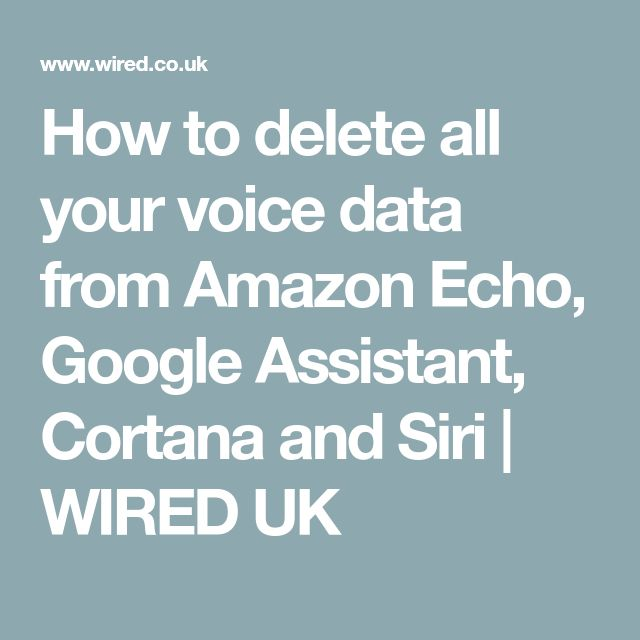 How to delete all your voice data from Amazon Echo, Google Assistant, Cortana and Siri | WIRED UK