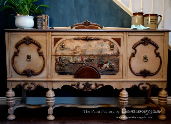I love the Jacobean and French style buffet or lowboy dresser for a vanity in the main bathroom.