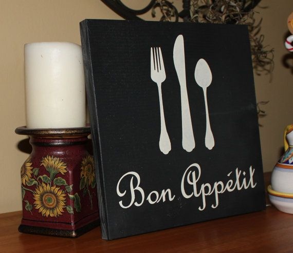 Bon Appetit Sign/Great Motheru0027s Day Gift/ Kitchen Sign/French Sign/Fork