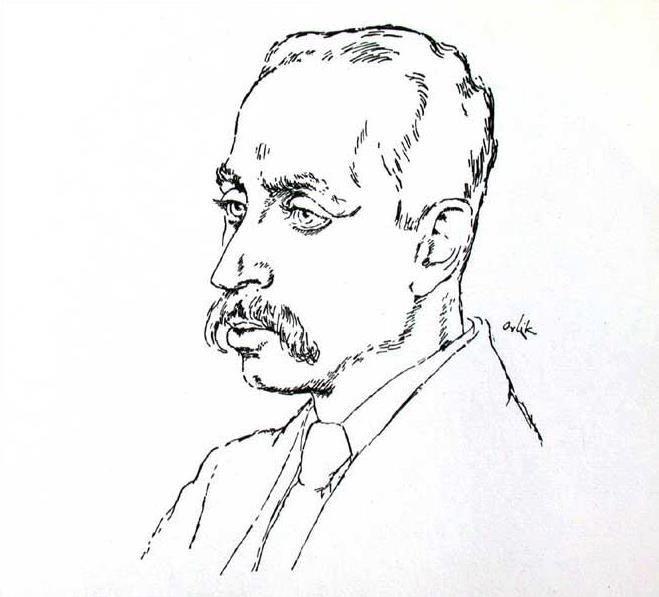 Rilke sportretowany przez pochodzącego z Pragi malarza i rysownika Emila Orlika, 1917