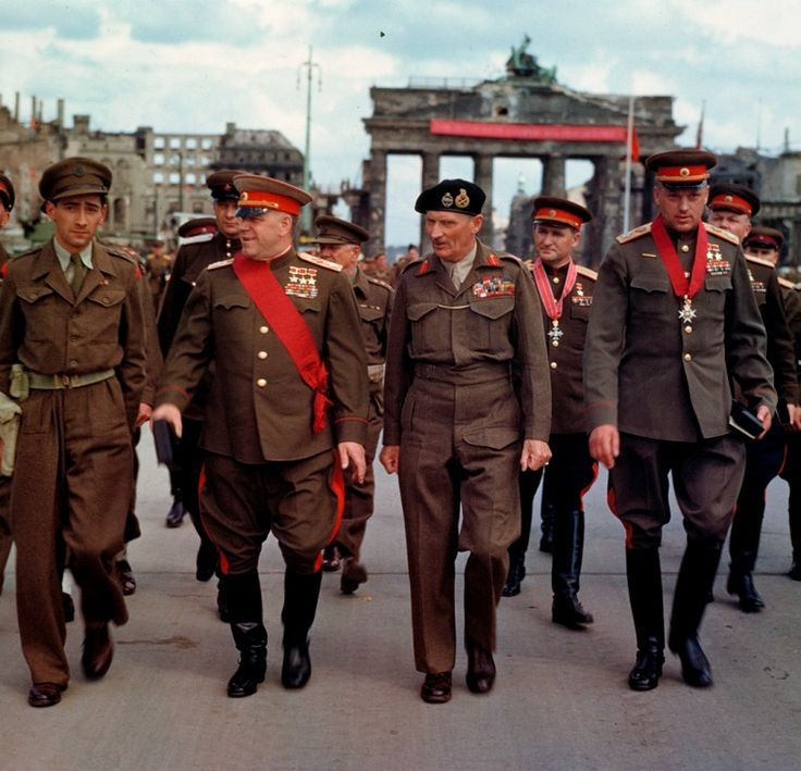 The victors in Berlin, June 1945. To our left Soviet Marshal Georgy Zhukov, to our right Field Marshal Bernard Montgomery.: