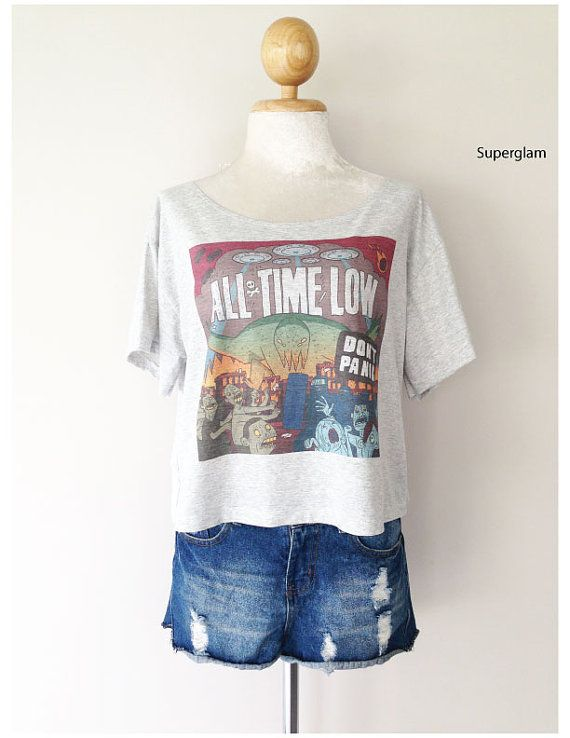 All Time Low Band Pop Punk Women Top Wide Crop by SuperGlamTees, $14.99