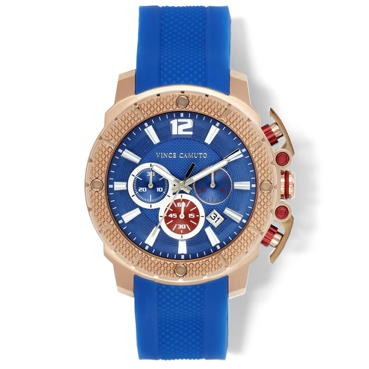 The Striker from Vince Camuto has a round textured blue silicon strap with rose gold plated stainless steel accents. It features a blue dial, 3 sub dials, date keeper, red accented crown and luminous indexes. This watch is water resistant 165 ft.