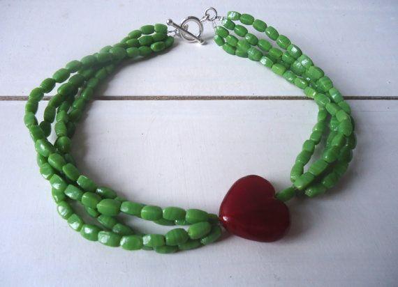 Cheery Cherry Green Glass and Red Heart Choker by CustardFox, $26.00