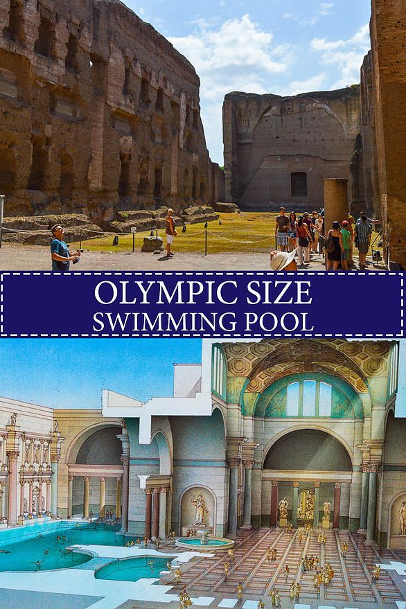 The Olympic size pool of the Baths of Caracalla-a view today and a reconstruction.