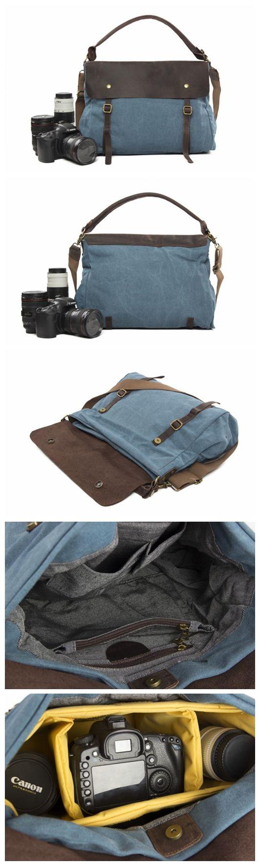 Canvas with Leather Large Volume DSLR Camera Bag Shoulder Bag Messenger Bag Tote Bag