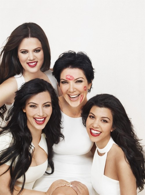 The Kardashian girls with their mother.