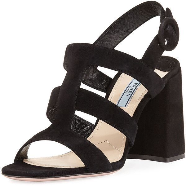 Prada Strappy Suede Slingback Sandal (39.125 RUB) ❤ liked on Polyvore featuring shoes, sandals, black, black slingback sandals, black suede sandals, black strap sandals, black strappy shoes and suede shoes