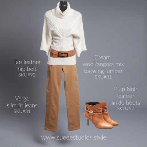 Suede Studios Style: cream wool/angora mix batwing jumper, Verge stretch jeans, tan leather hip belt & Pulp Noir leather ankle boots.