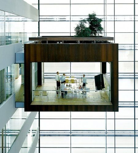 Meeting room designed by Schmidt Hammer Lassen architects for Nykredit headquarters building in Copenhagen, Denmark.
