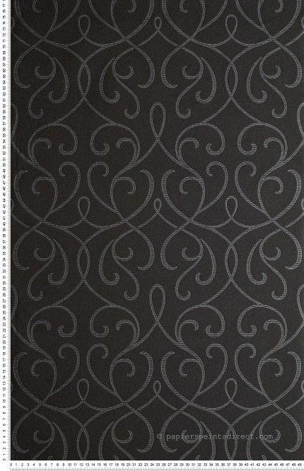 Entrelace Baroque Noir Et Argent Metallise Papier Peint Lutece