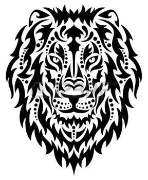 chat dessin noir et blanc: Une tête de lion.