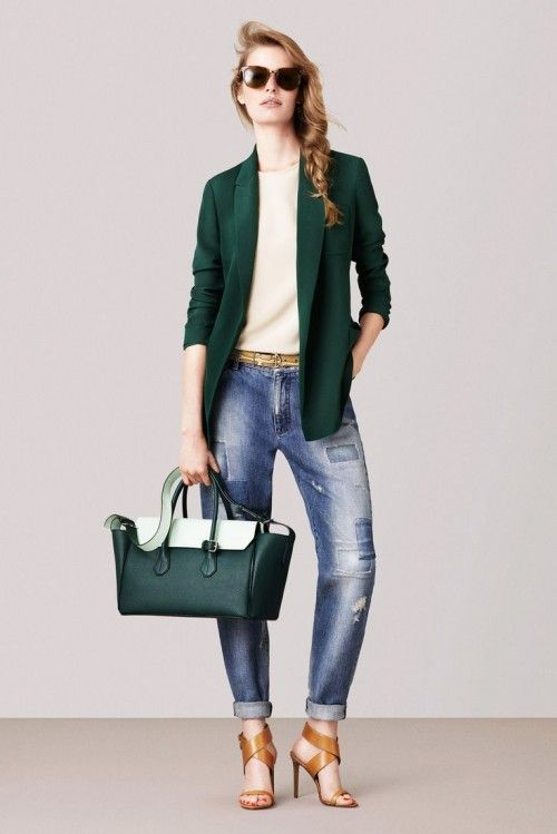 Forest green with camel accessories - 25 Cool Spring 2015 Casual Outfits For Girls   Styleoholic