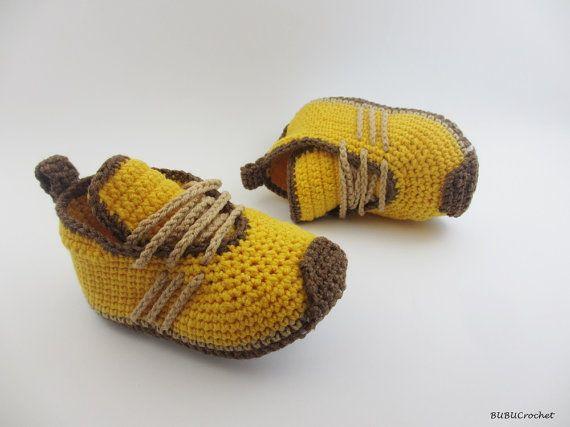 Yellow Crochet Baby Sneakers, Crochet baby Sneakers, Yellow baby shoes, Yellow baby sneakers, crochet baby shoes, Infant Crochet Booties