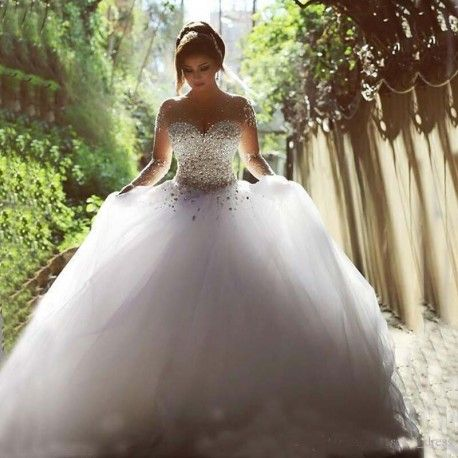 Luxury Crystal  Sheer Long Sleeves Wedding Dress- Lots of Crystals, Backless, Floor Length - www.weddingboutique.co