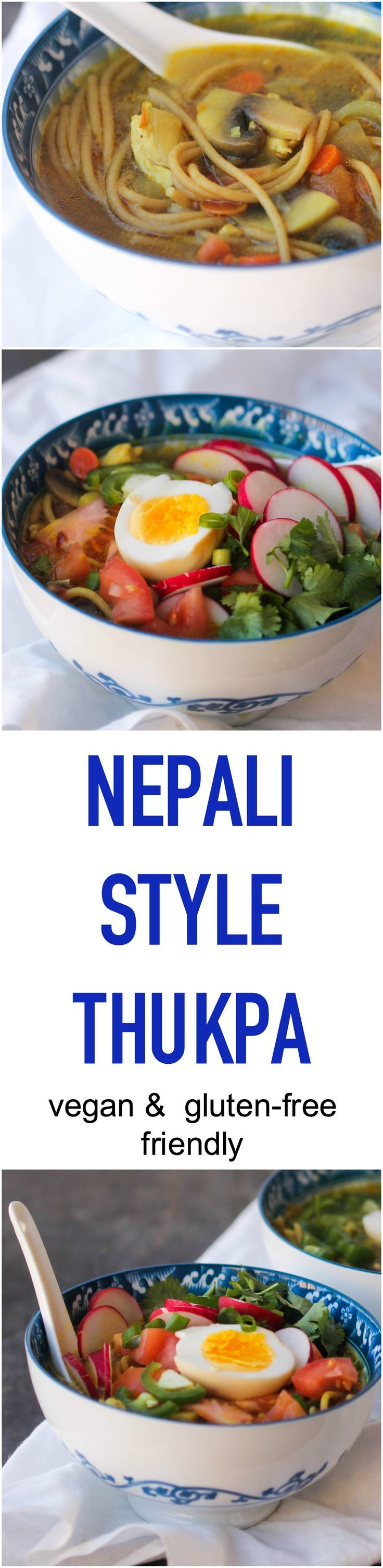 Nepali Style Thukpa is a cross between chicken noodle soup and ramen. It is a simple, wholesome, and comforting soup that is flexible to please every lifestyle. http://www.foodpleasureandhealth.com/2017/02/nepali-style-thukpa.html