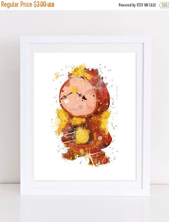 60%OFF Cogsworth Watercolor Poster Baby Shower Beauty and the