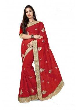 couleur rouge georgette saree, -  96,00 €,  #Sarimariage  #Robeindiennebollywood  #Tuniqueindienne  #Robepakistanaise  #Shopkund