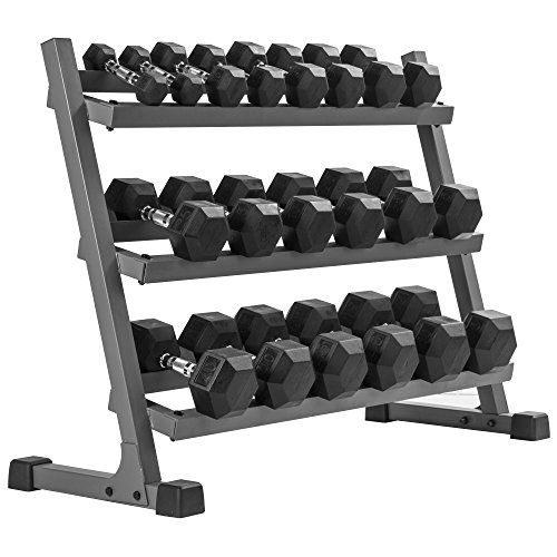 XMark's 550 lb. Premium Hex Dumbbell Set (10 Pair: 5 lb to 50 lb Pairs) with XMark's Heavy Duty Three Tier Dumbbell Rack (Gray or White Rack) http://adjustabledumbbell.info/product/xmarks-550-lb-premium-hex-dumbbell-set-10-pair-5-lb-to-50-lb-pairs-with-xmarks-heavy-duty-three-tier-dumbbell-rack-gray-or-white-rack/