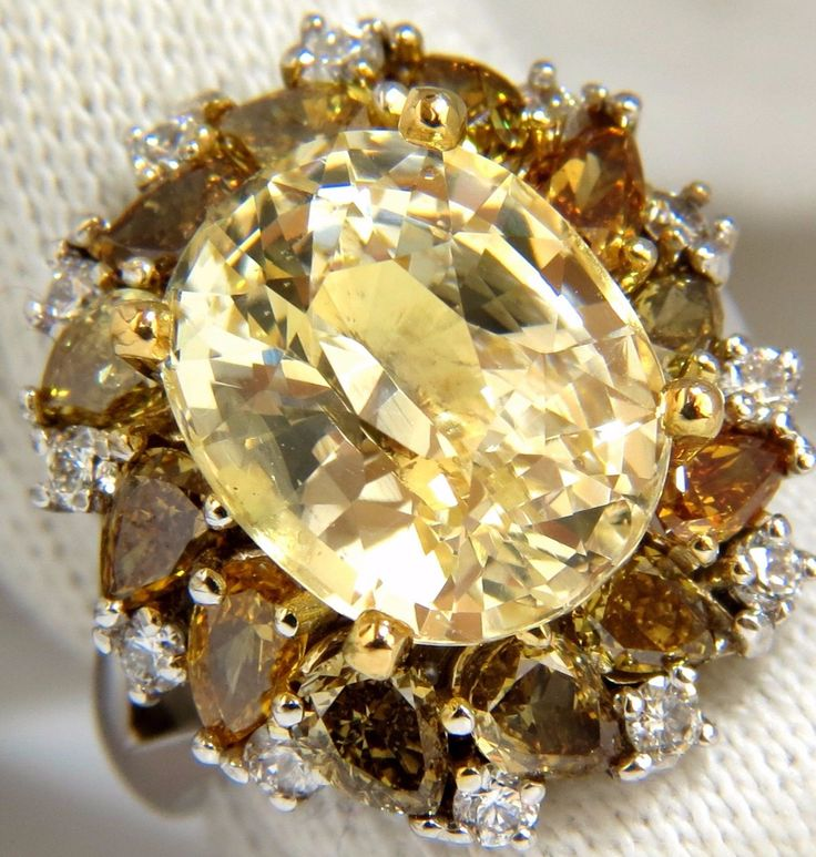 GIA 12.68CT NATURAL NO HEAT YELLOW FANCY COLOR DIAMONDS CLUSTER RING 18KT